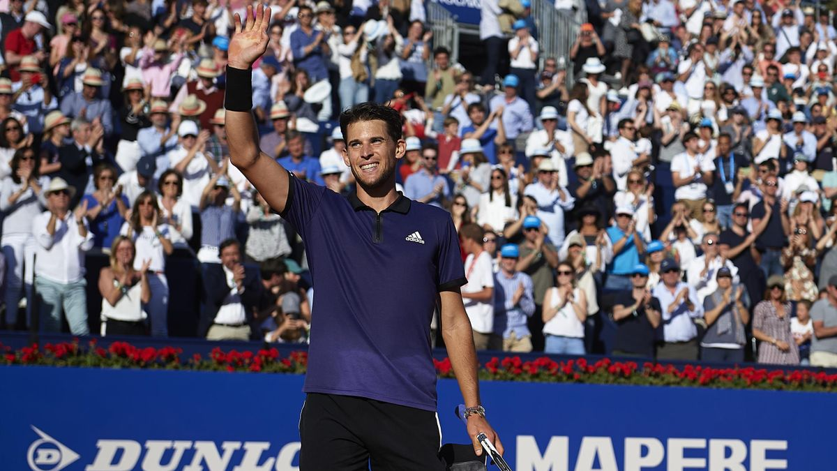Dominic Thiem of Austria acknowledges the fans after winning during his Men's round of semi-final match against Rafael Nadal of Spain on day six of the Barcelona Open Banc Sabadell at Real Club De Tenis Barcelona on April 27, 2019 in Barcelona, Spain.