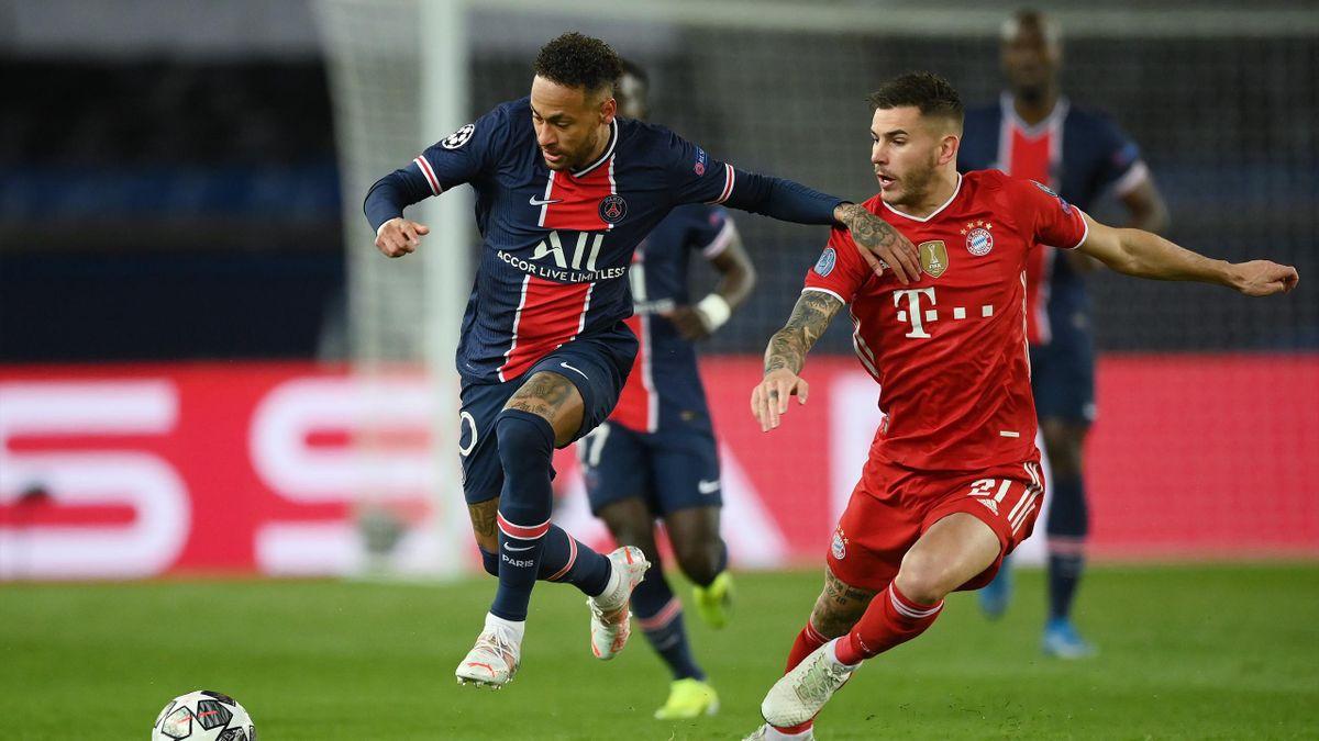 Neymar (links; PSG) im Zweikampf mit Lucas Hernández (FC Bayern)