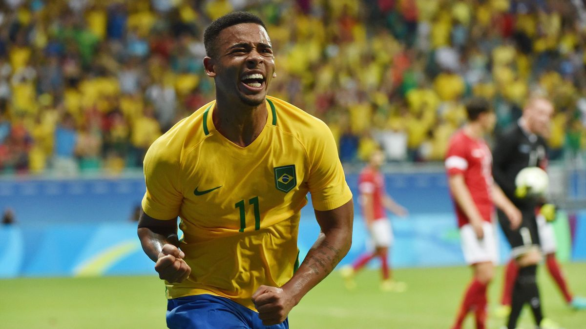 Gabriel Jesus of Brazil celebrates his goal against Denmark during the Rio 2016 Olympic Games men's first round Group A football match Brazil vs Denmark, at the Arena Fonte Nova Stadium in Salvador, Brazil on August 10, 2016.