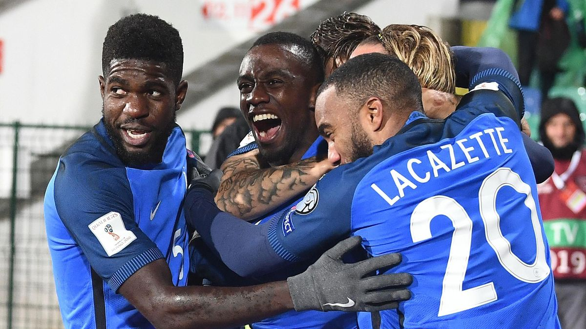 France's midfielder Blaise Matuidi (C) celebrates with teammates after scoring his team's first goal during the FIFA World Cup 2018 qualifying football match between Bulgaria and France