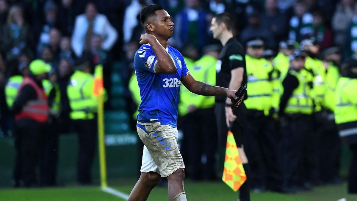 Alfredo Morelos of Rangers walks from the pitch after being sent off near the end of the game during the Ladbrokes Premiership match between Celtic and Ranger