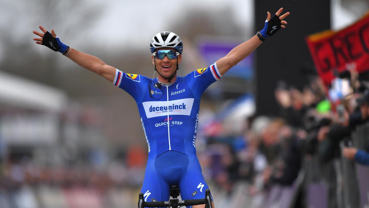 Zdenek Stybar of Czech Republic and Team Deceuninck Quick-Step / Celebration / during the 74th Omloop Het Nieuwsblad 2019 a 200km race from Gent to Ninove / FLanders Classics / @OmloopHNB / on March 02, 2019 in Ninove, Belgium