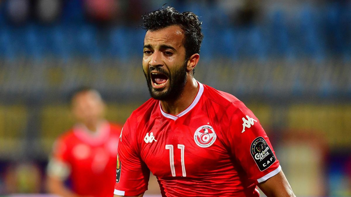 Tunisia's forward Taha Yassine Khenissi celebrates his goal during the 2019 Africa Cup of Nations (CAN) Round of 16 football match between Ghana and Tunisia at the Ismailia Stadium in the Egyptian city on July 8, 2019