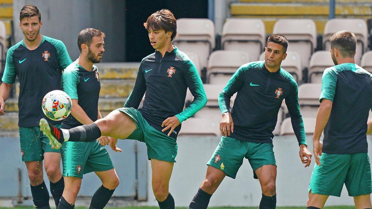 Joao Felix, Ruben Dias și Bernardo Silva, la antrenamentul Portugaliei
