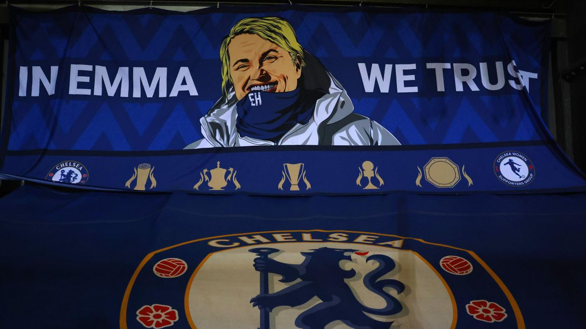 A banner with an image of Chelsea manager Emma Hayes