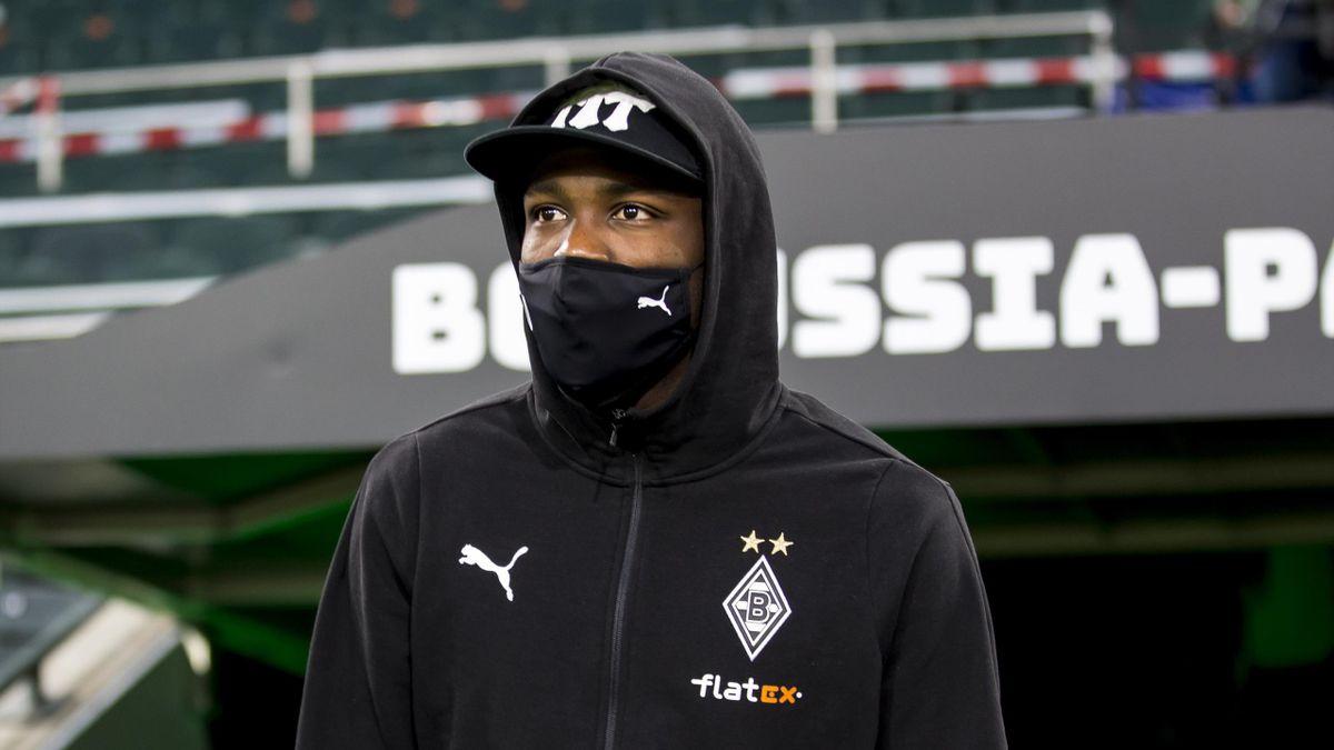 Marcus Thuram of Borussia Moenchengladbach is seen before the Bundesliga match between Borussia Moenchengladbach and RB Leipzig at Borussia-Park