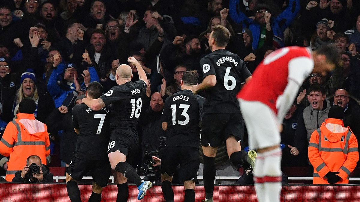 Brighton's French striker Neal Maupay (L) celebrates scoring his team's second goal during the English Premier League football match between Arsenal and Brighton and Hove Albion at the Emirates Stadium in London on December 5, 2019