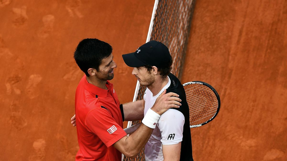 Novak Djokovic congratulates Andy Murray in Rome