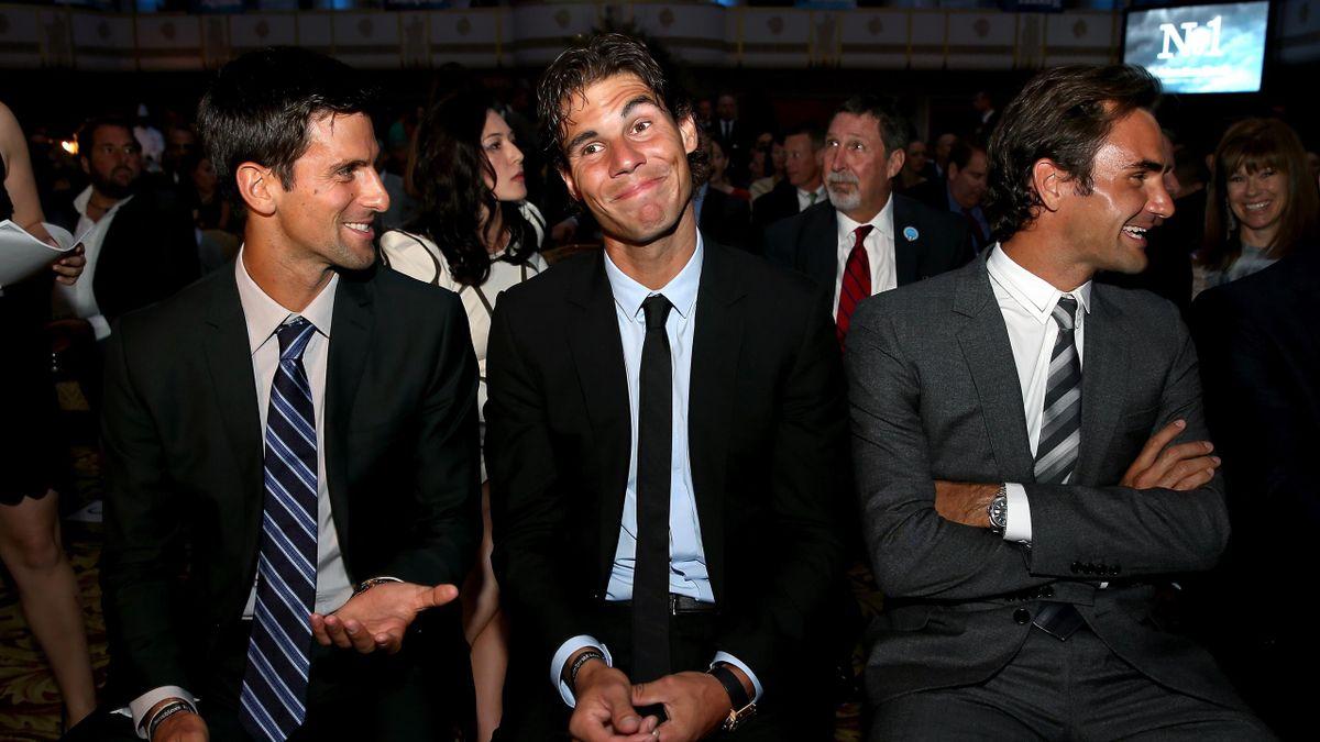 Novak Djokovic of Serbia, Rafael Nadal of Spain and Roger Federer