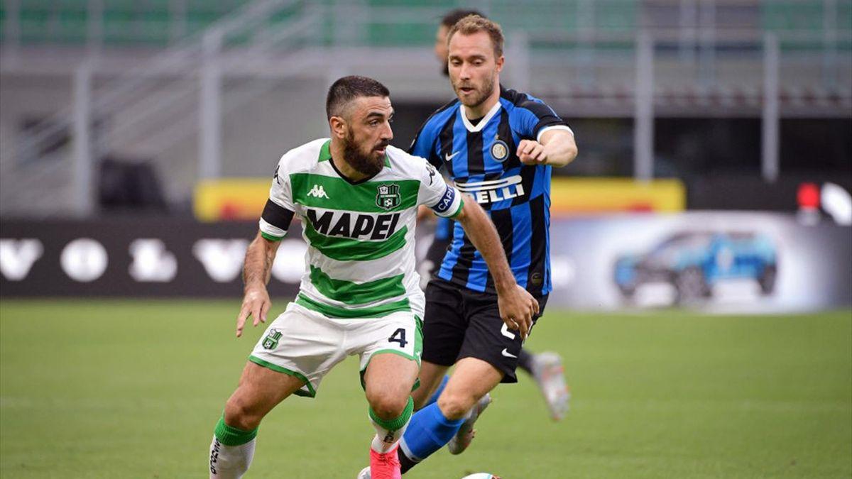 Francesco Magnanelli e Christian Eriksen - Inter-Sassuolo Serie A 2019-20