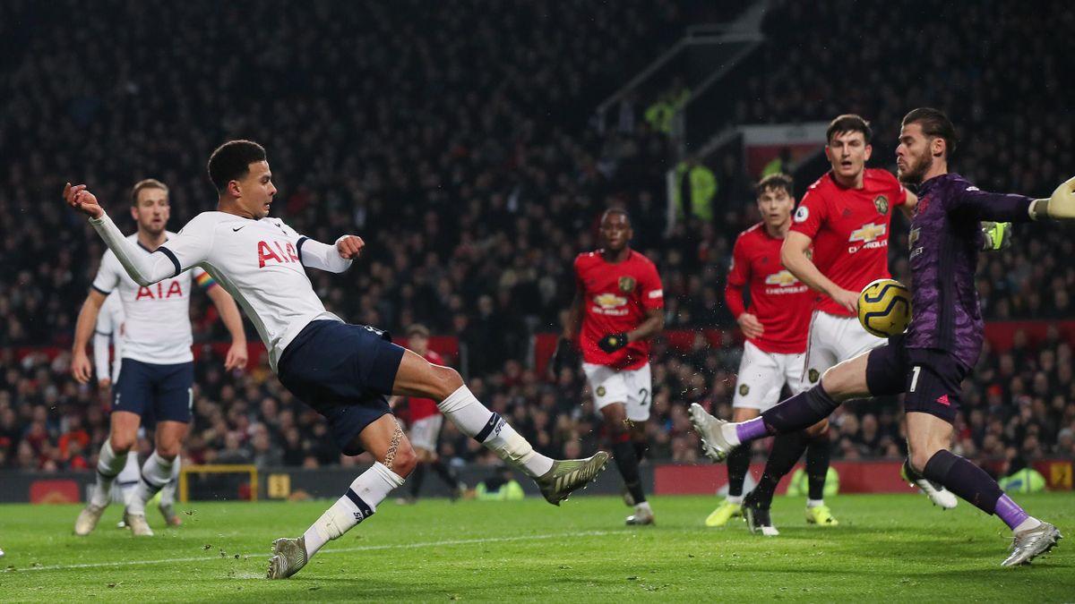 Dele Alli (l.) trifft für die Tottenham Hotspur gegen Manchester United