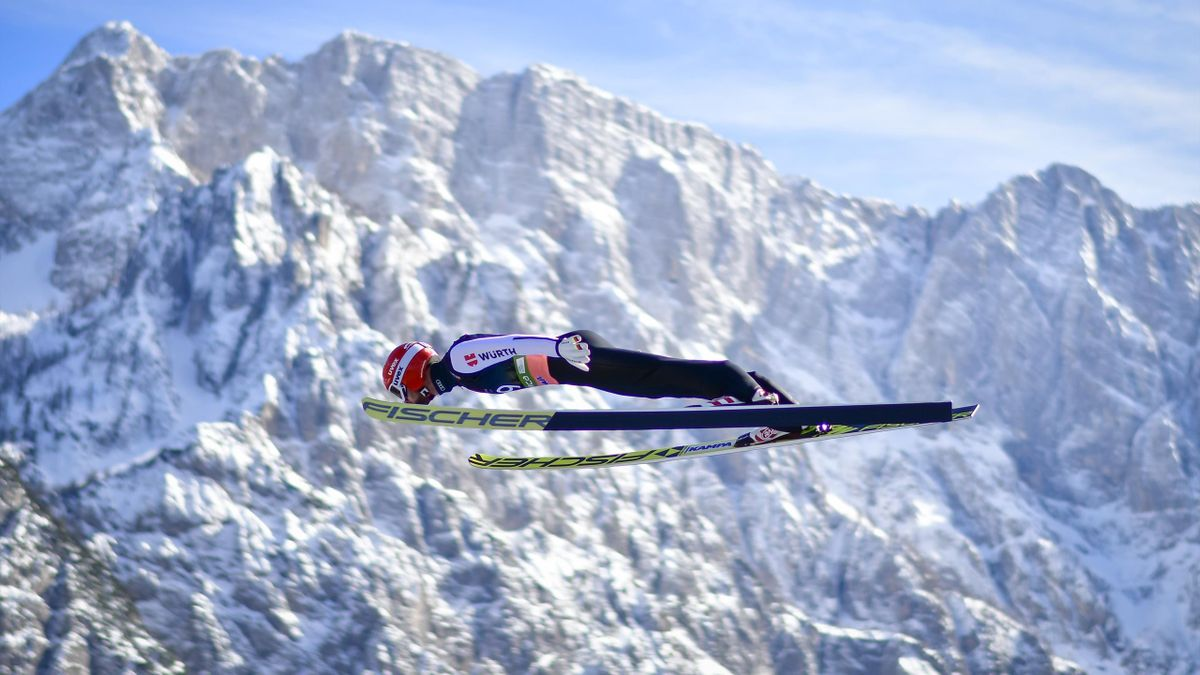 Markus Eisenbichler of Germany competes during the first round of the FIS Ski Jumping World Cup Flying Hill Individual competition in Planica, Slovenia, on March 22, 2019