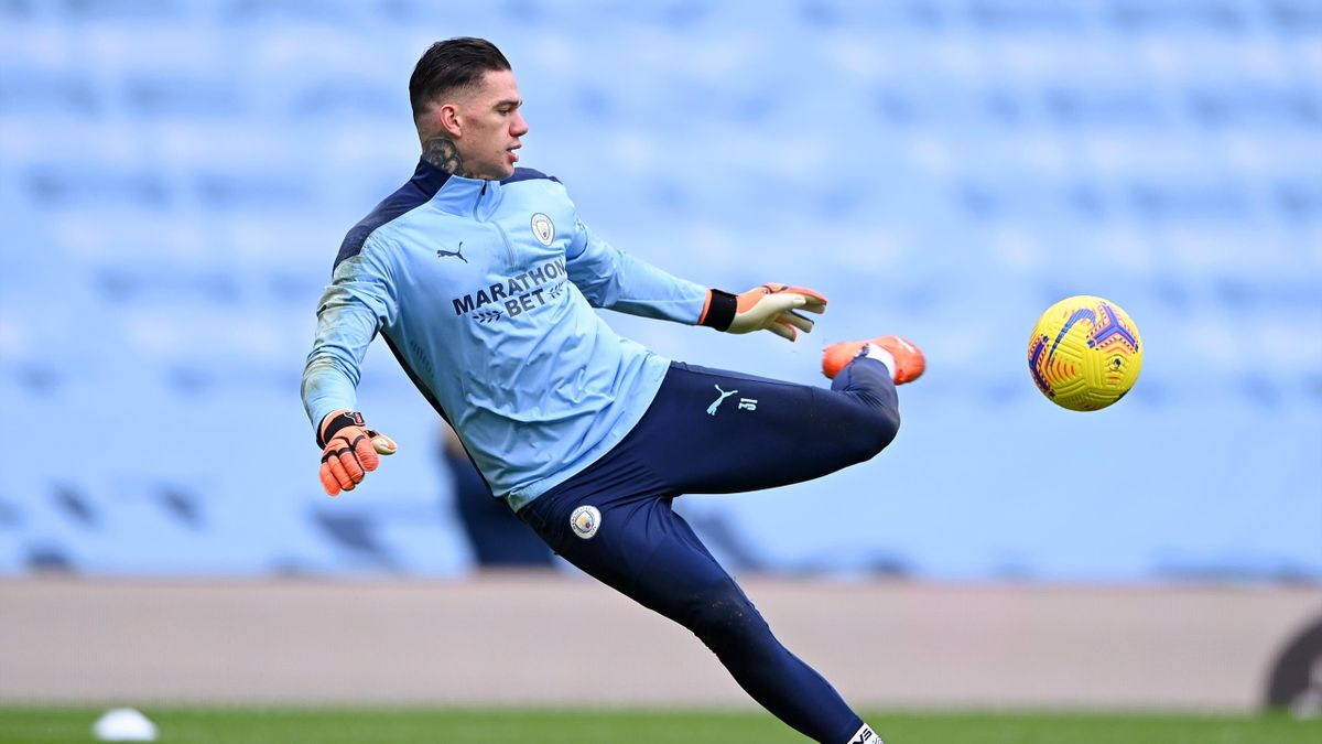 Ederson of Manchester City kicks the ball, Manchester City v Sheffield United, Etihad Stadium, Manchester, January 30, 2021