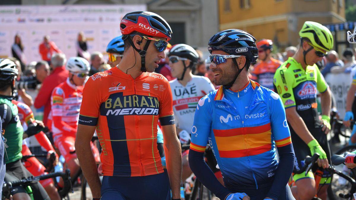 VARESE, ITALY - OCTOBER 08: Start / Vincenzo Nibali of Italy and Team Bahrain - Merida / Alejandro Valverde Belmonte of Spain and Movistar Team / Saronno City / during the 99th Tre Valli Varesine 2019 a 197,8km race from Saronno to Varese 378m / @AlfredoB