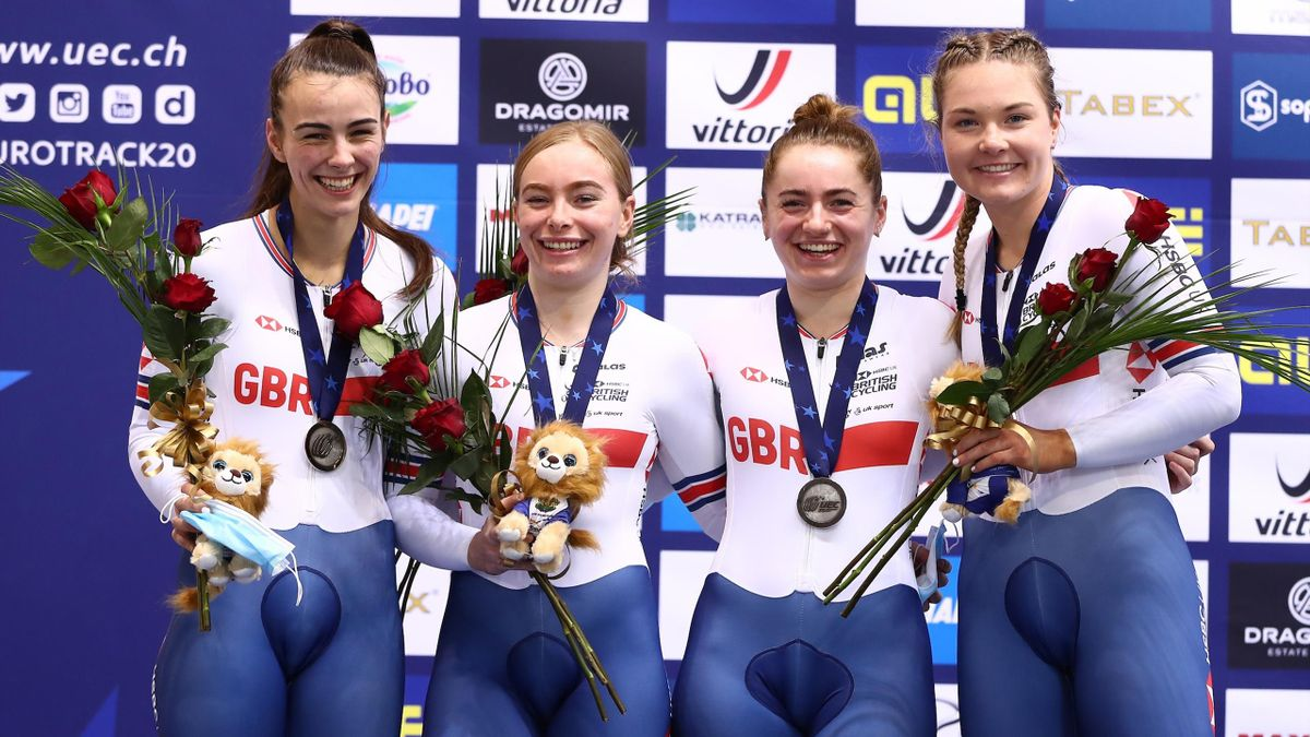 Great Britain's Milly Tanner, Lusia Steele and Lauren Bate, Blaine Ridge-Davis took silver in Plovdiv (Credit: @Britishcycling)