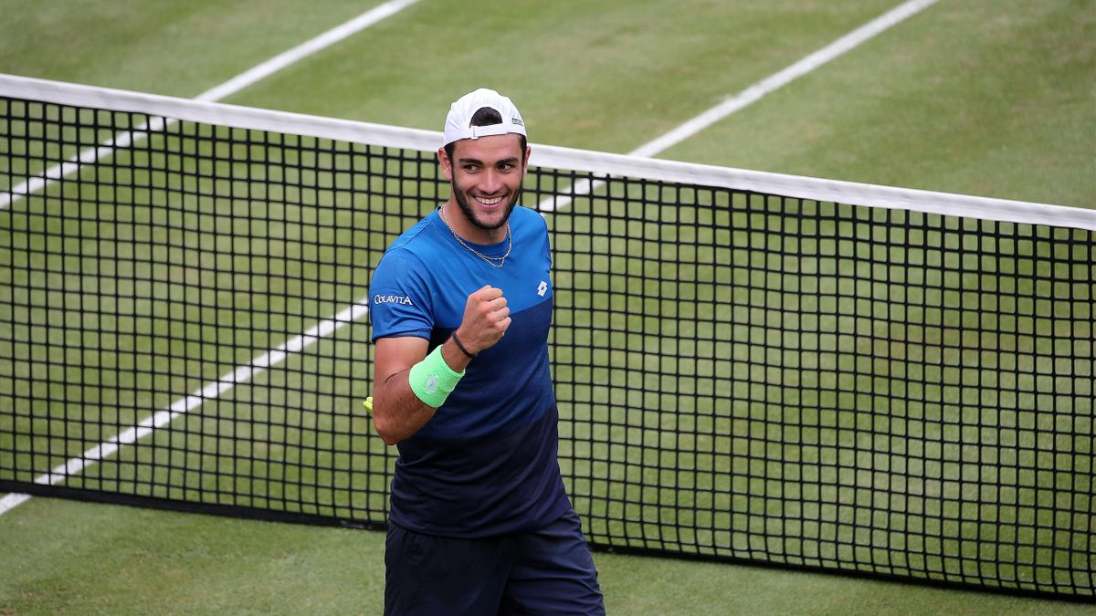Matteo Berrettini esulta per la vittoria ai quarti di finale a Stoccarda contro Kudla, Imago