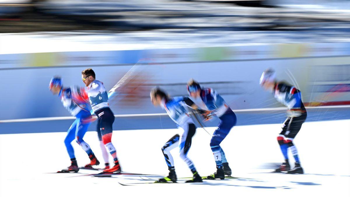 Федерико Пеллегрино (Италия), Ховард Таугбель (Норвегия), Марко Килп (Эстония), Йони Мяки (Финляндия), Лудек Зеллер (Чехия), командный спринт на ЧМ-2021
