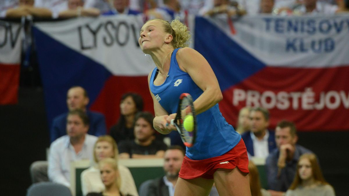 Czech Katerina Siniakova returns the ball to US Sofia Kenin during the Fed Cup World Group final tennis match between Czech Republic and United States