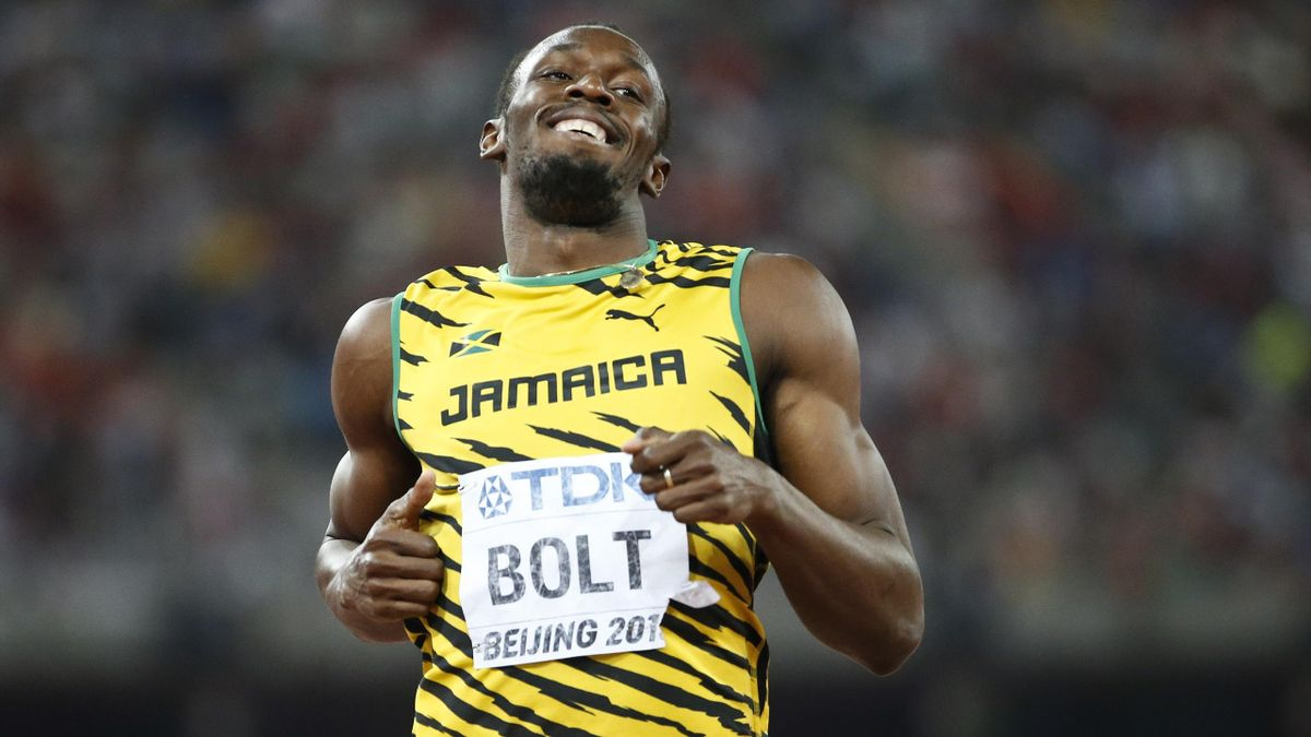 Usain Bolt of Jamaica reacts after the men's 200m semi-final during the 15th IAAF World Championships at the National Stadium in Beijing, China August 26, 2015.