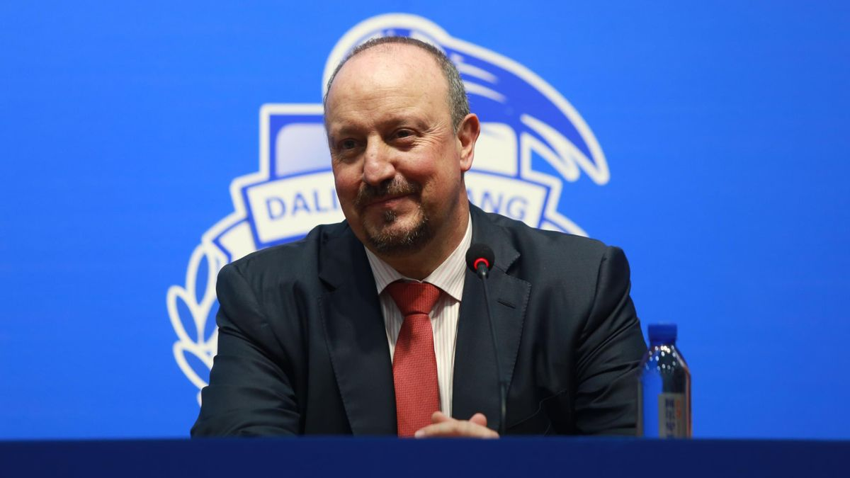 Football Manager Rafa Benitez attends a press conference after signing a contract with Dalian Yifang Football Club on July 2, 2019 in Dalian, Liaoning Province of China.