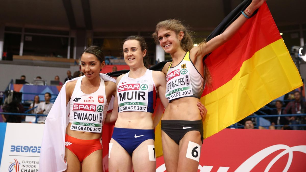 Winner Laura Muir of Britain, 2nd placed Konstanze Klosterhalfen of Germany and 3rd placed Sofia Ennaoui of Poland pose.