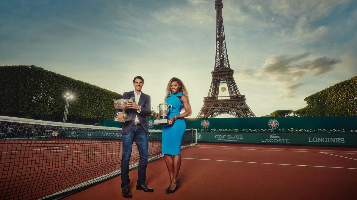 Rafael Nadal and Serena Williams celebrating (Roland-Garros)