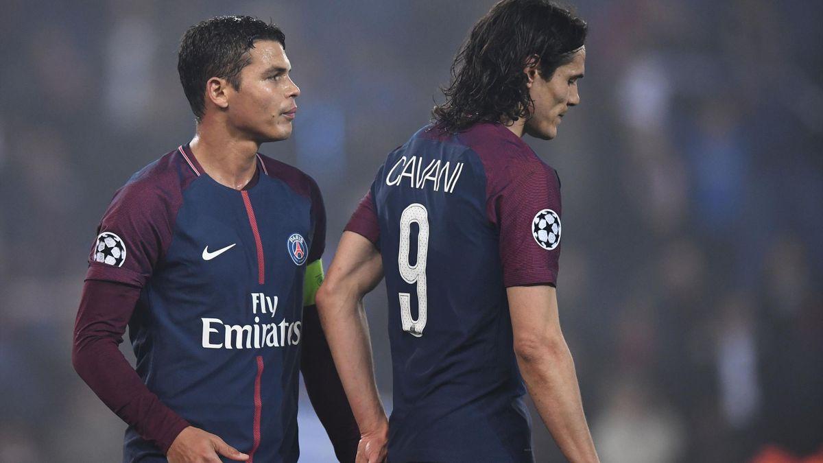 La déception de Thiago Silva et d'Edinson Cavani après l'élimination face au Real