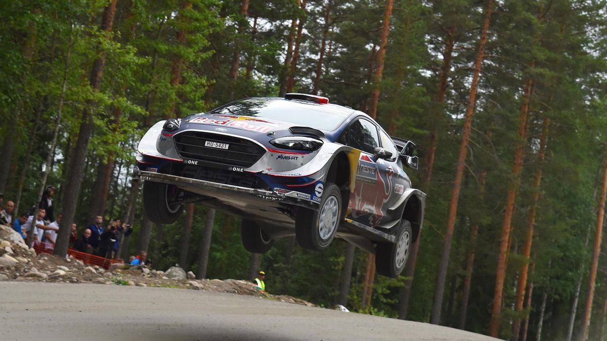 Sebastien Ogier of France and Julien Ingrassia of France compete in their M-Sport WRT Ford Fiesta WRC during the Shakedown of the WRC Finland