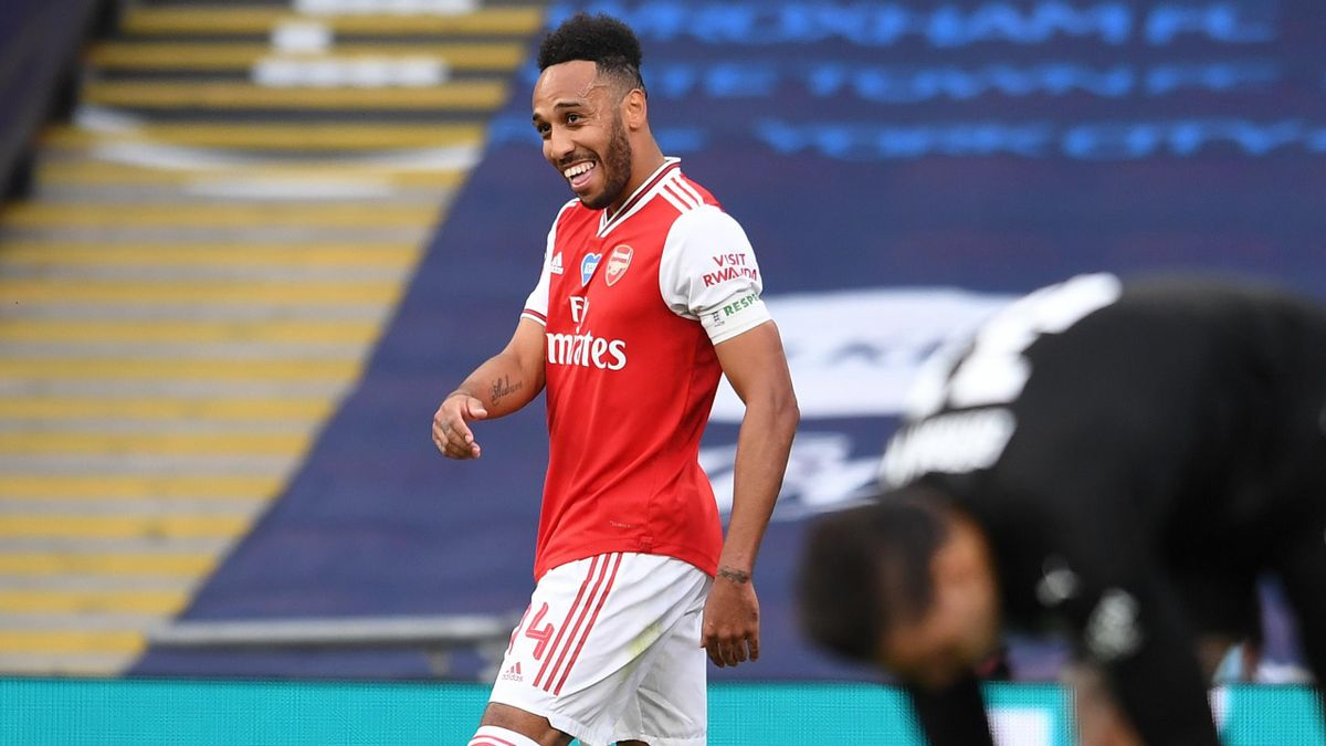 Pierre-Emerick Aubameyang celebrates scoring for Arsenal against Manchester City.