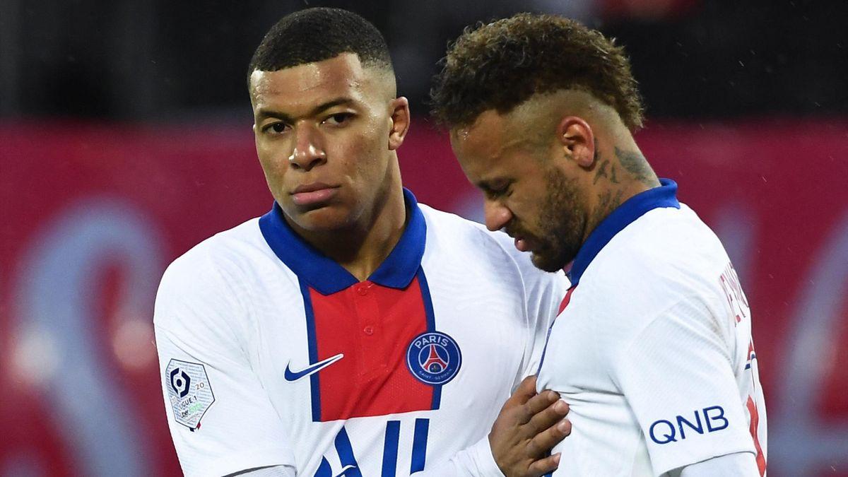 Kylian Mbappé et Neymar lors de Brest - PSG