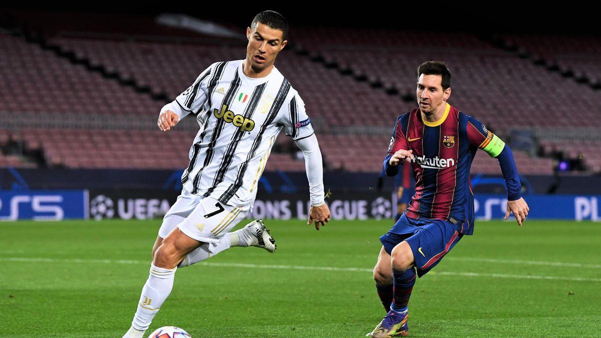 Ronaldo (l.) und Messi (r.) beim Cl-Gruppenspiel zwischen Juve und Barça im Camp Nou