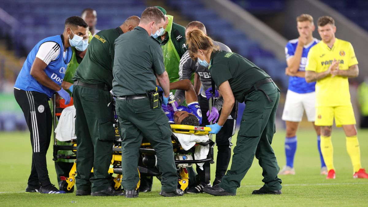 LEICESTER, ENGLAND - AUGUST 04: Wesley Fofana of Leicester City goes off injured during the Pre-Season Friendly between Leicester City and Villarreal at King Power Stadium on August 4, 2021 in Leicester, England.