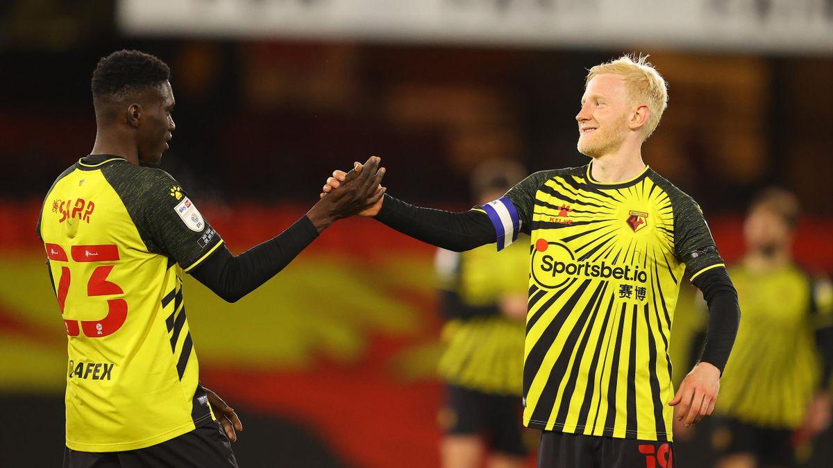 Will Hughes (r.) und Ismaila Sarr vom FC Watford