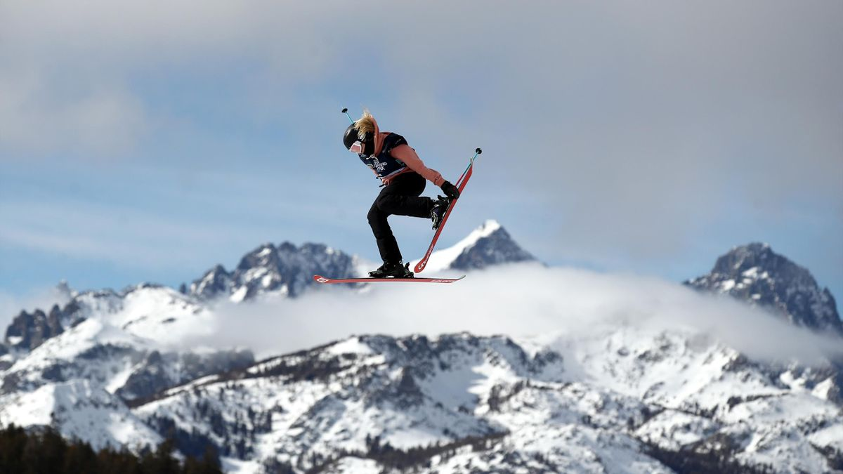 : Katie Summerhayes of Great Britain goes over a jump during the Women's Freeski Slope Style Qualifications at the 2020 U.S. Grand Prix at Mammoth Mountain on January 30, 2020 in Mammoth, California