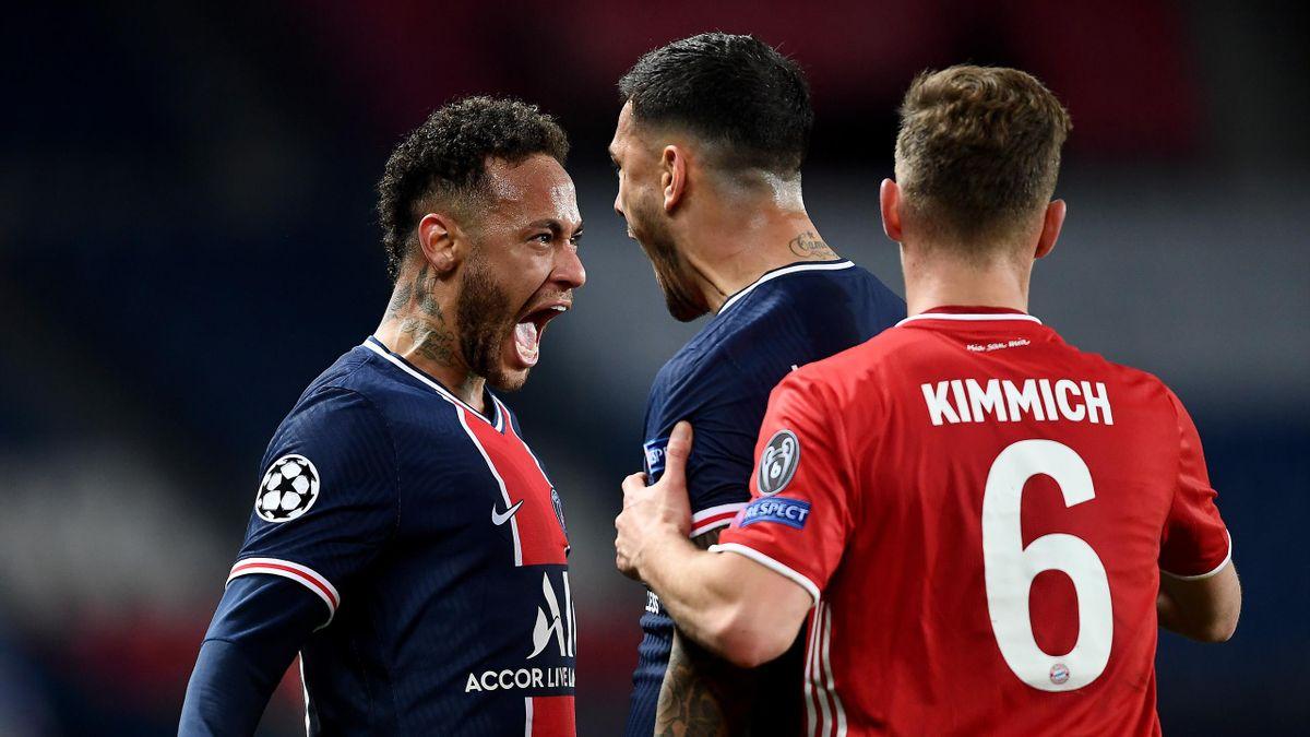 Neymar (links) bejubelt den PSG-Coup gegen Joshua Kimmich (rechts) und den FC Bayern
