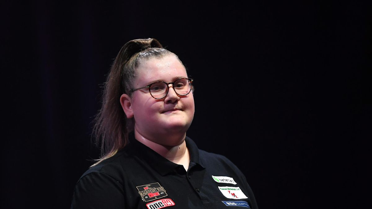 Beau Greaves looks on during the match between Beau Greaves and Aileen de Graaf on Day Six of the BDO Darts Championships 2020 at O2 Indigo on January 09, 2020 in London, England