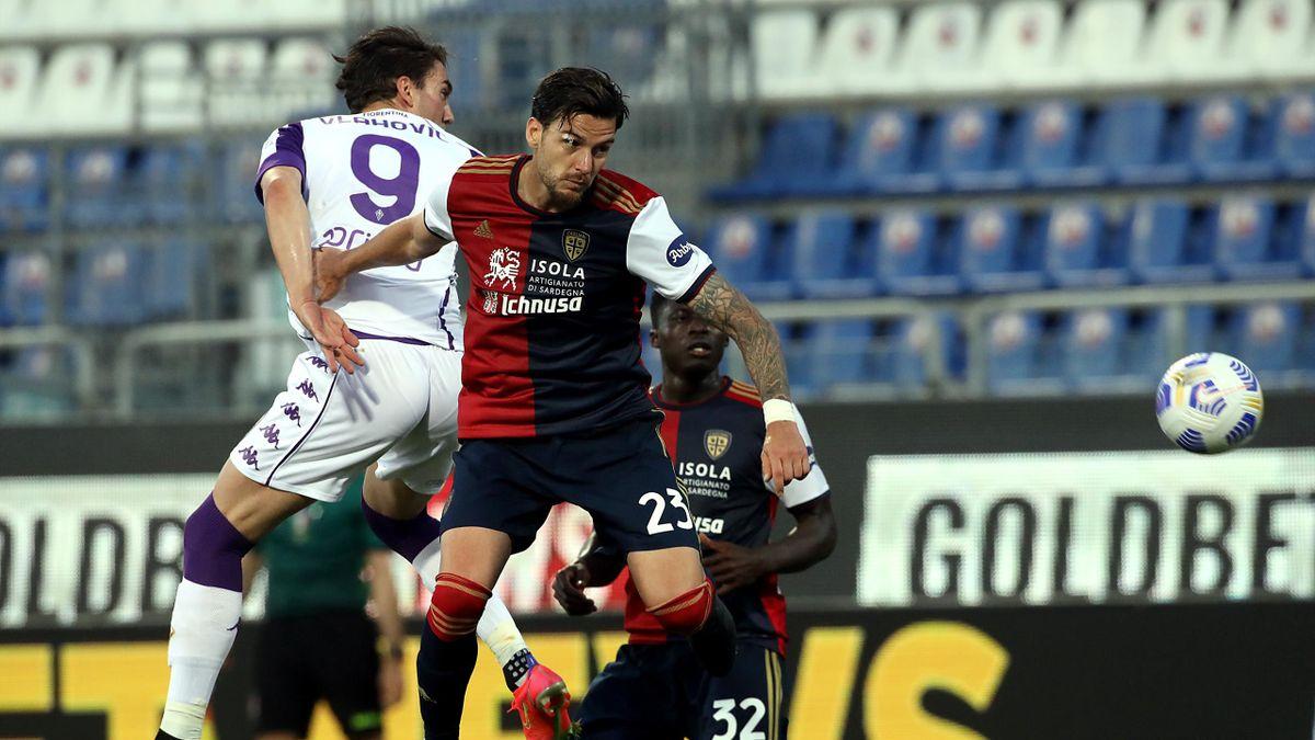 Dusan Vlahovic, Luca Ceppitelli, Cagliari-Fiorentina, Serie A 2020-21, Getty Images