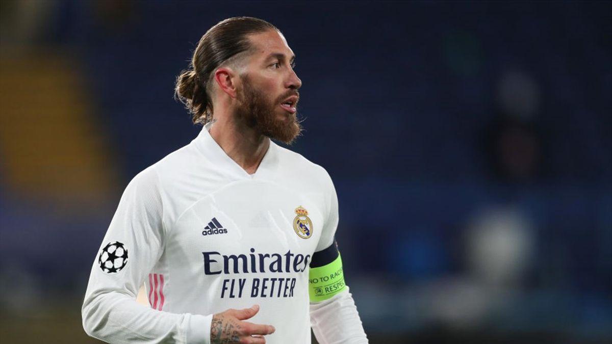 Sergio Ramos con la maglia del Real Madrid