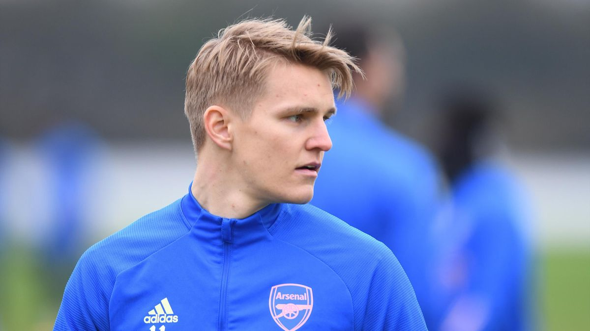 Martin Odegaard of Arsenal during a training session at London Colney on February 01, 2021 in St Albans, England.