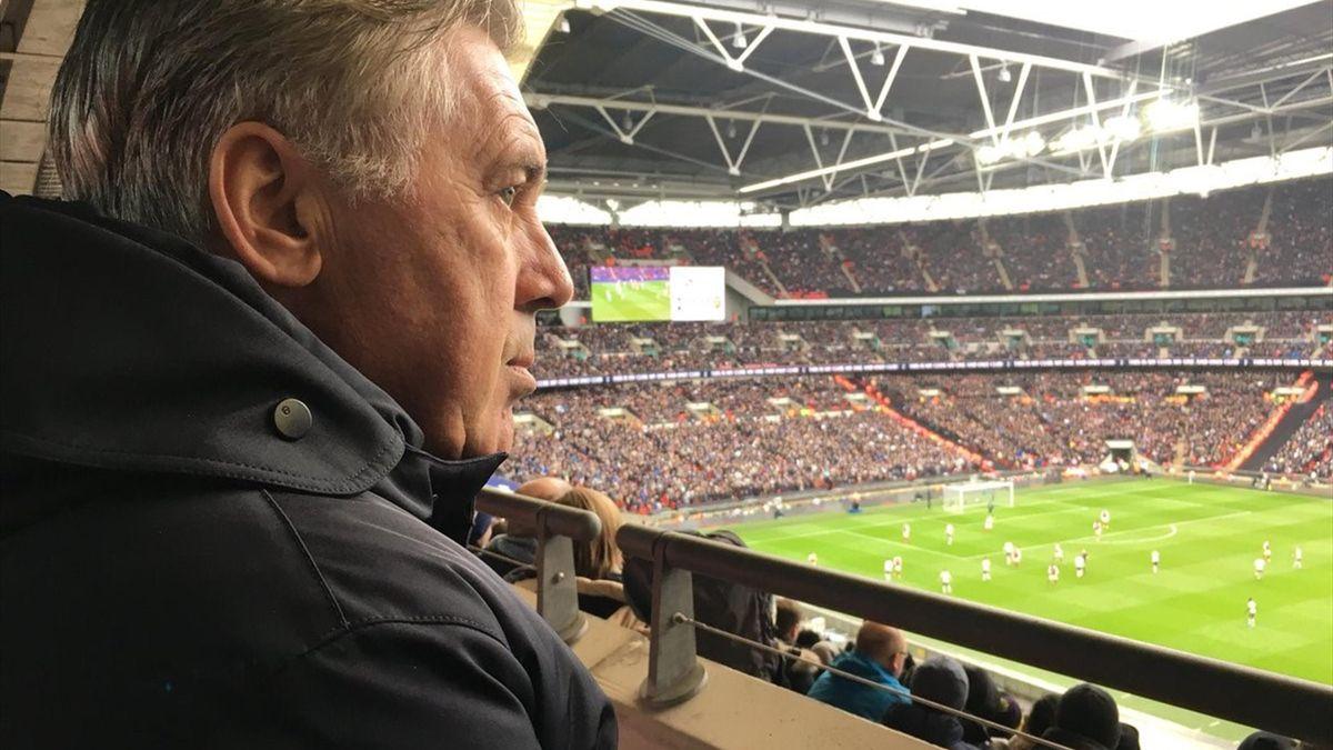 Карло Анчелотти на матче «Тоттенхэм» – «Арсенал»