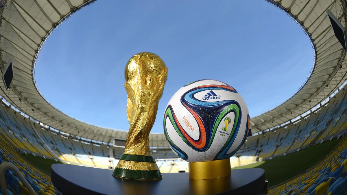 A general view of Brazuca and the FIFA World Cup Trophy at the Maracana before the adidas Brazuca launch at Parque Lage on December 3, 2013 in Rio de Janeiro, Brazil. Brazuca was the Official Match Ball for the FIFA World Cup 2014 Brazil
