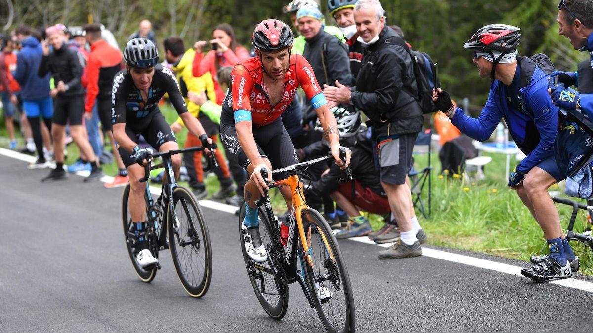 Damiano Caruso (rechts) und Romain Bardet auf der 20. Etappe des Giro d'Italia 2021