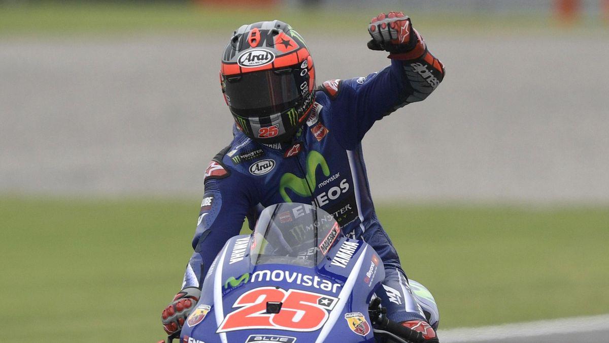 Spanish biker Maverick Vinales on Yamaha celebrates upon winning the MotoGP race of the Argentina Grand Prix at Termas de Rio Hondo circuit, in Santiago del Estero, Argentina on April 9, 2017.