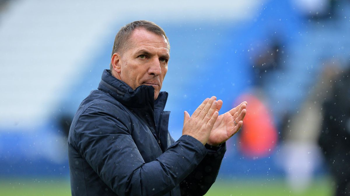 Manager of Leicester City Brendan Rodgers at the end of the Premier League match between Leicester City and Tottenham Hotspur at The King Power Stadium