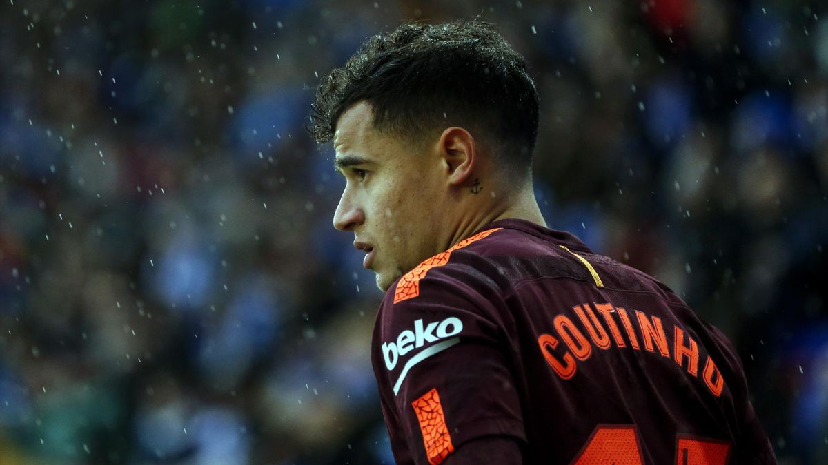 Philippe Coutinho looks on during the Spanish league football match between RCD Espanyol and FC Barcelona at the RCDE Stadium in Cornella de Llobregat on February 4, 2018