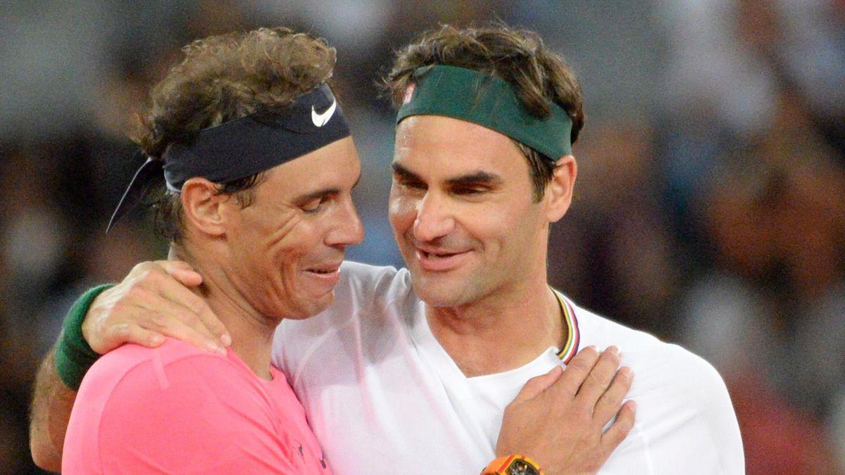 Roger Federer (r.) und Rafael Nadal