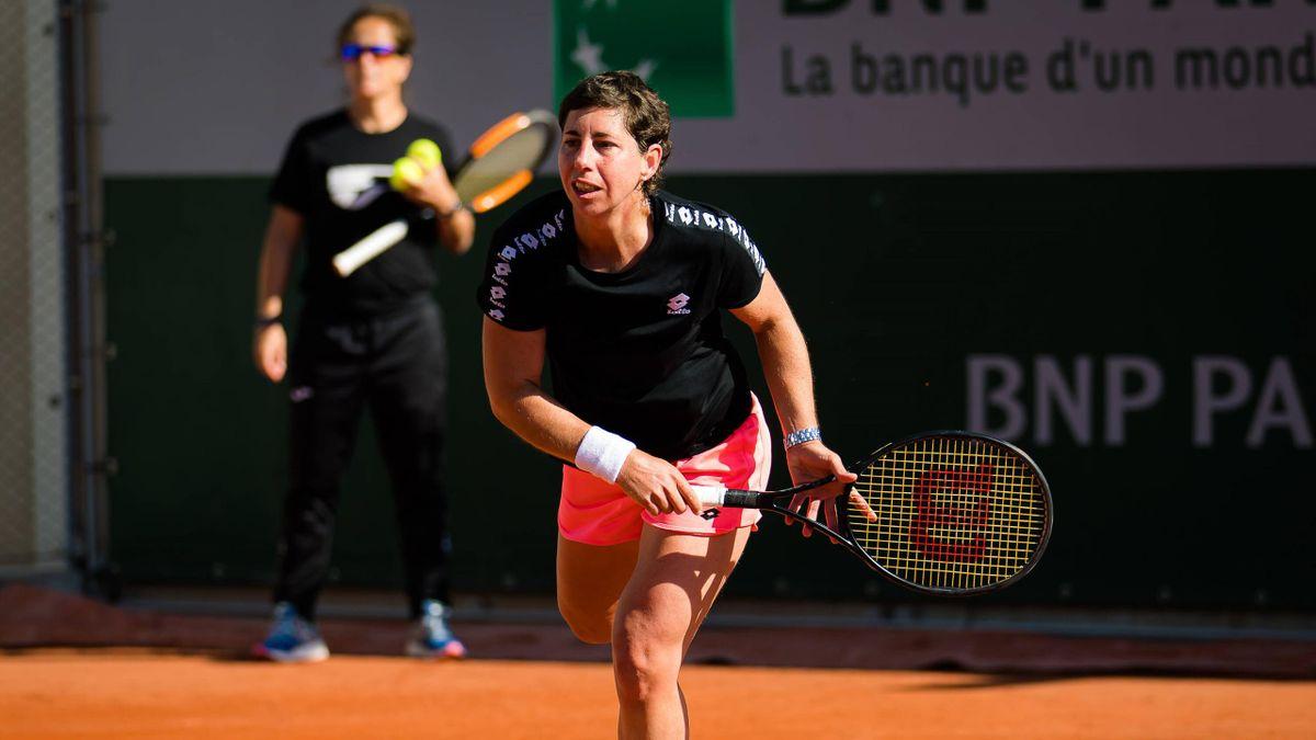 May 28, 2021: Carla Suarez Navarro of Spain during practice ahead of the 2021 Roland Garros Grand Slam Tournament - ZUMAa181 20210528_zaa_a181_039 Copyright: xRobxPrangex