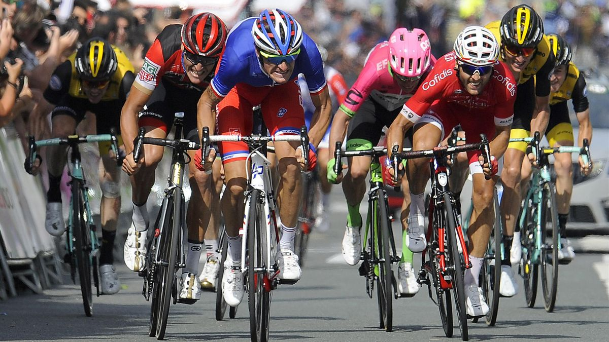 SAN SEBASTIAN, SPAIN - AUGUST 04: Sprint / Arrival / Anthony Roux of France and Team Groupama - FDJ / Greg Van Avermaet of Belgium and BMC Racing Team / Julien Simon of France and Team Cofidis / Rigoberto Uran of Colombia and Team EF Education First - Dra