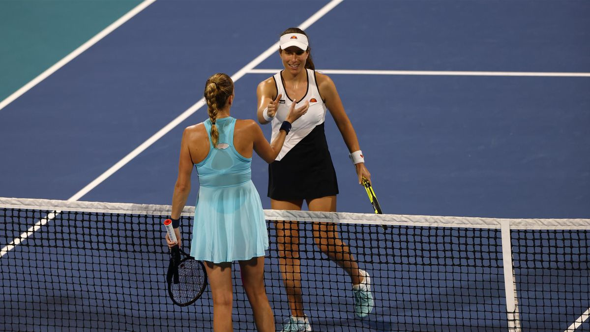 Petra Kvitová of Czechia shakes hands with Johanna Konta of the United Kingdom after her women's singles third round match win on Day 6 of the 2021 Miami Open presented by Itaú at Hard Rock Stadium