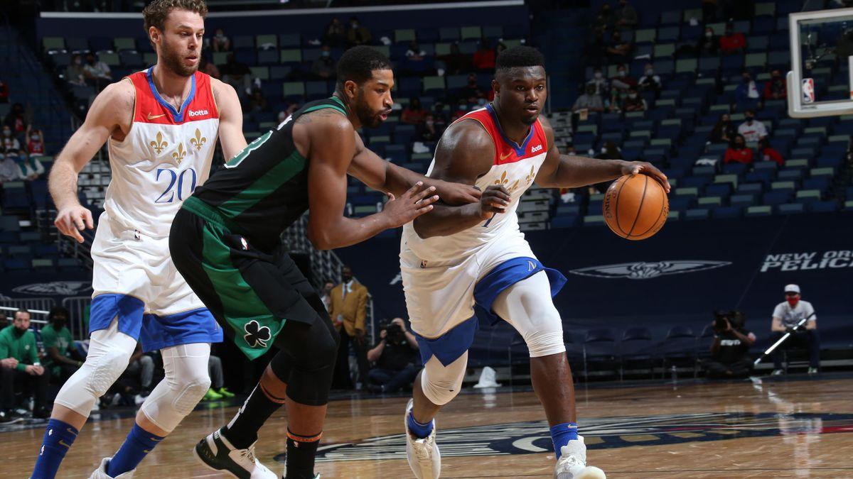 Zion Williamson e Nik Melli, New Orleans Pelicans, NBA 2020-21